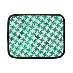 Houndstooth2 White Marble & Green Marble Netbook Case (small)