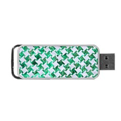 Houndstooth2 White Marble & Green Marble Portable Usb Flash (one Side)
