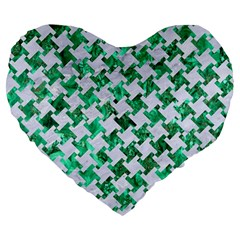 Houndstooth2 White Marble & Green Marble Large 19  Premium Heart Shape Cushions