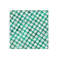 Houndstooth2 White Marble & Green Marble Satin Bandana Scarf