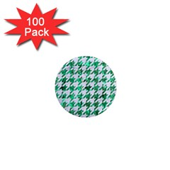 Houndstooth1 White Marble & Green Marble 1  Mini Magnets (100 Pack)