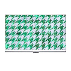 Houndstooth1 White Marble & Green Marble Business Card Holders
