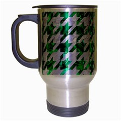 Houndstooth1 White Marble & Green Marble Travel Mug (silver Gray)