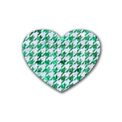 Houndstooth1 White Marble & Green Marble Rubber Coaster (heart)