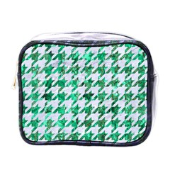 Houndstooth1 White Marble & Green Marble Mini Toiletries Bags