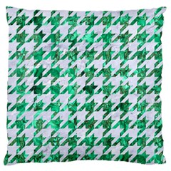 Houndstooth1 White Marble & Green Marble Large Cushion Case (two Sides)