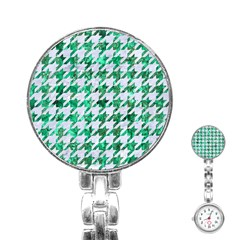 Houndstooth1 White Marble & Green Marble Stainless Steel Nurses Watch