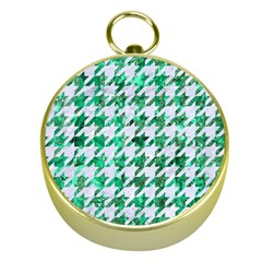 Houndstooth1 White Marble & Green Marble Gold Compasses