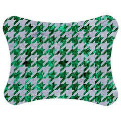 Houndstooth1 White Marble & Green Marble Jigsaw Puzzle Photo Stand (bow)