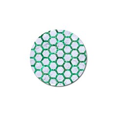 Hexagon2 White Marble & Green Marble (r) Golf Ball Marker