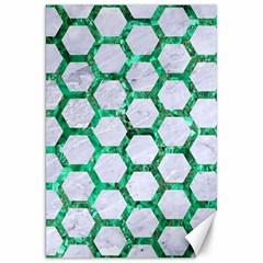 Hexagon2 White Marble & Green Marble (r) Canvas 20  X 30
