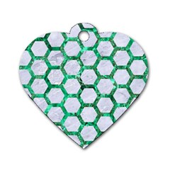 Hexagon2 White Marble & Green Marble (r) Dog Tag Heart (two Sides)