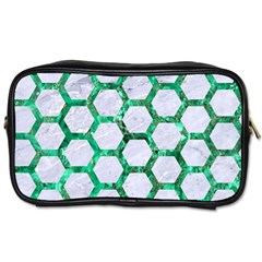 Hexagon2 White Marble & Green Marble (r) Toiletries Bags 2 Side