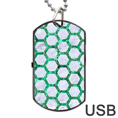 Hexagon2 White Marble & Green Marble (r) Dog Tag Usb Flash (one Side) by trendistuff