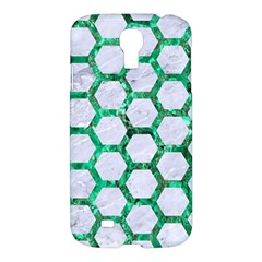 Hexagon2 White Marble & Green Marble (r) Samsung Galaxy S4 I9500/i9505 Hardshell Case