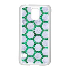 Hexagon2 White Marble & Green Marble (r) Samsung Galaxy S5 Case (white)