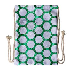 Hexagon2 White Marble & Green Marble (r) Drawstring Bag (large)