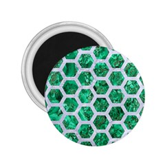 Hexagon2 White Marble & Green Marble 2 25  Magnets