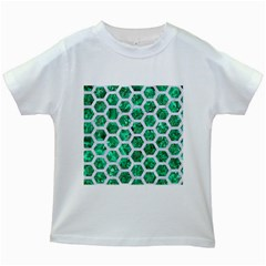 Hexagon2 White Marble & Green Marble Kids White T Shirts