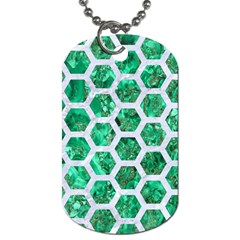 Hexagon2 White Marble & Green Marble Dog Tag (two Sides)