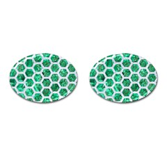 Hexagon2 White Marble & Green Marble Cufflinks (oval) by trendistuff