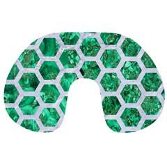 Hexagon2 White Marble & Green Marble Travel Neck Pillows