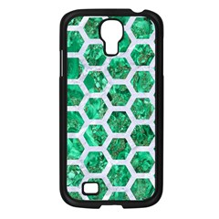 Hexagon2 White Marble & Green Marble Samsung Galaxy S4 I9500/ I9505 Case (black)