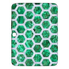 Hexagon2 White Marble & Green Marble Samsung Galaxy Tab 3 (10 1 ) P5200 Hardshell Case
