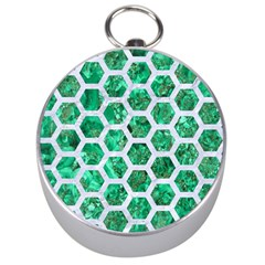 Hexagon2 White Marble & Green Marble Silver Compasses