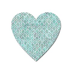 Hexagon1 White Marble & Green Marble (r) Heart Magnet