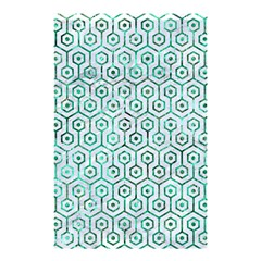 Hexagon1 White Marble & Green Marble (r) Shower Curtain 48  X 72  (small)