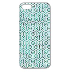 Hexagon1 White Marble & Green Marble (r) Apple Seamless Iphone 5 Case (clear)