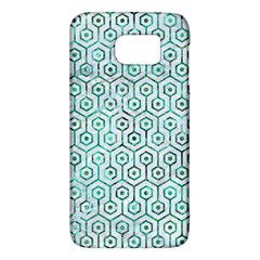 Hexagon1 White Marble & Green Marble (r) Samsung Galaxy S6 Hardshell Case