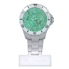 Hexagon1 White Marble & Green Marble Plastic Nurses Watch by trendistuff