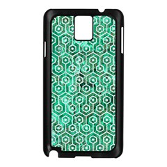 Hexagon1 White Marble & Green Marble Samsung Galaxy Note 3 N9005 Case (black)
