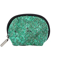 Hexagon1 White Marble & Green Marble Accessory Pouches (small)