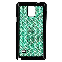 Hexagon1 White Marble & Green Marble Samsung Galaxy Note 4 Case (black)