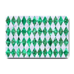 Diamond1 White Marble & Green Marble Small Doormat  by trendistuff
