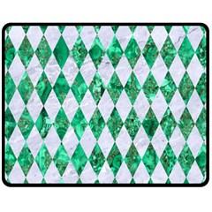 Diamond1 White Marble & Green Marble Fleece Blanket (medium)