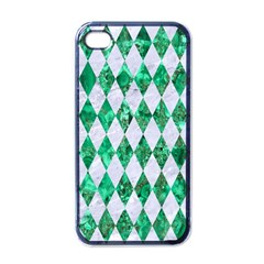 Diamond1 White Marble & Green Marble Apple Iphone 4 Case (black)