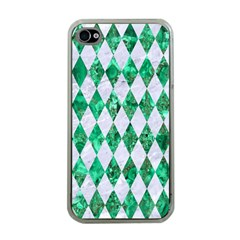 Diamond1 White Marble & Green Marble Apple Iphone 4 Case (clear)