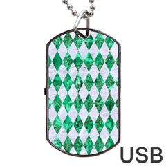 Diamond1 White Marble & Green Marble Dog Tag Usb Flash (two Sides)