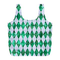 Diamond1 White Marble & Green Marble Full Print Recycle Bags (l)