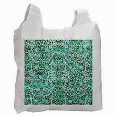 Damask2 White Marble & Green Marble (r) Recycle Bag (one Side)