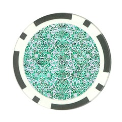 Damask2 White Marble & Green Marble (r) Poker Chip Card Guard (10 Pack)