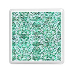 Damask2 White Marble & Green Marble (r) Memory Card Reader (square)