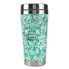 Damask2 White Marble & Green Marble (r) Stainless Steel Travel Tumblers