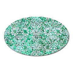 Damask2 White Marble & Green Marble Oval Magnet