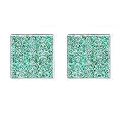 Damask2 White Marble & Green Marble Cufflinks (square)