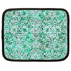 Damask2 White Marble & Green Marble Netbook Case (xxl)